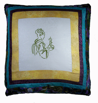 Elegant Geisha on a Pillow by Wendy