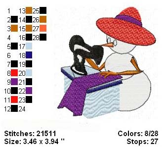 Red Hat Snow Lady Sewing